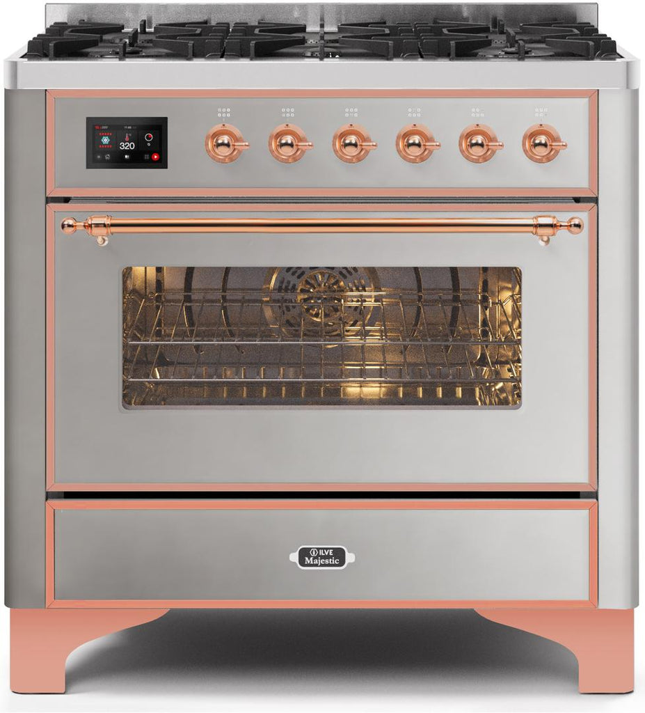 "Majestic II Series Dual Fuel Range with 6 Burners   3.55 cu. ft. Oven Capacity   Copper Trim   in Stainless Steel""UM096DNS3SSPLP 36 - America Best Appliances, LLC"