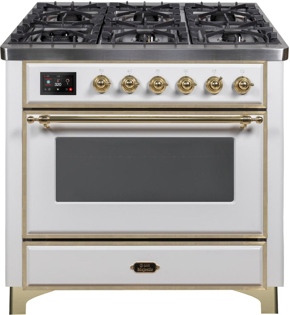 "Majestic II Series Dual Fuel Range with 6 Burners   3.55 cu. ft. Oven Capacity   Gold Trim   in White""UM096DNS3WHG 36 - America Best Appliances, LLC"