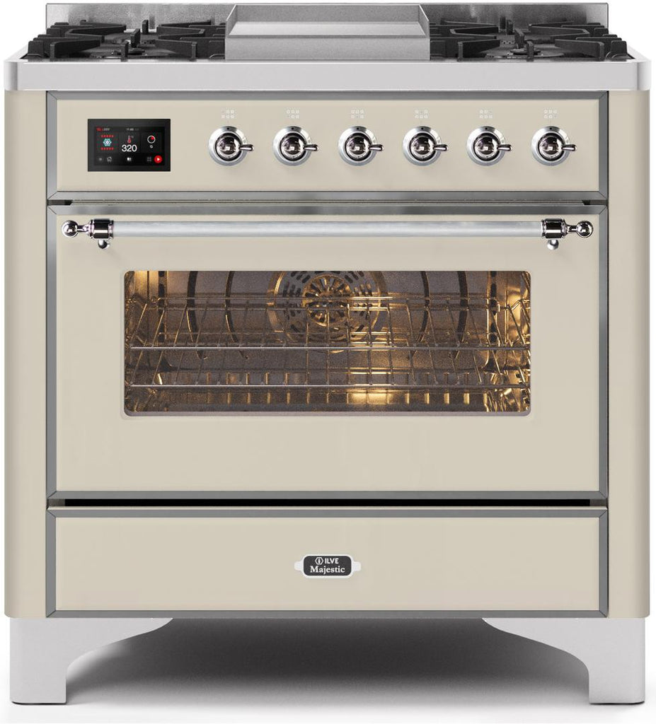 "Majestic II Series Dual Fuel Range with 4 Burners and Griddle   3.5 cu. ft. Oven Capacity   TFT Oven Control Display   Triple Glass Cool Door Oven   Chrome Trim   in Antique White""UM09FDNS3AWCLP 36 - America Best Appliances, LLC"