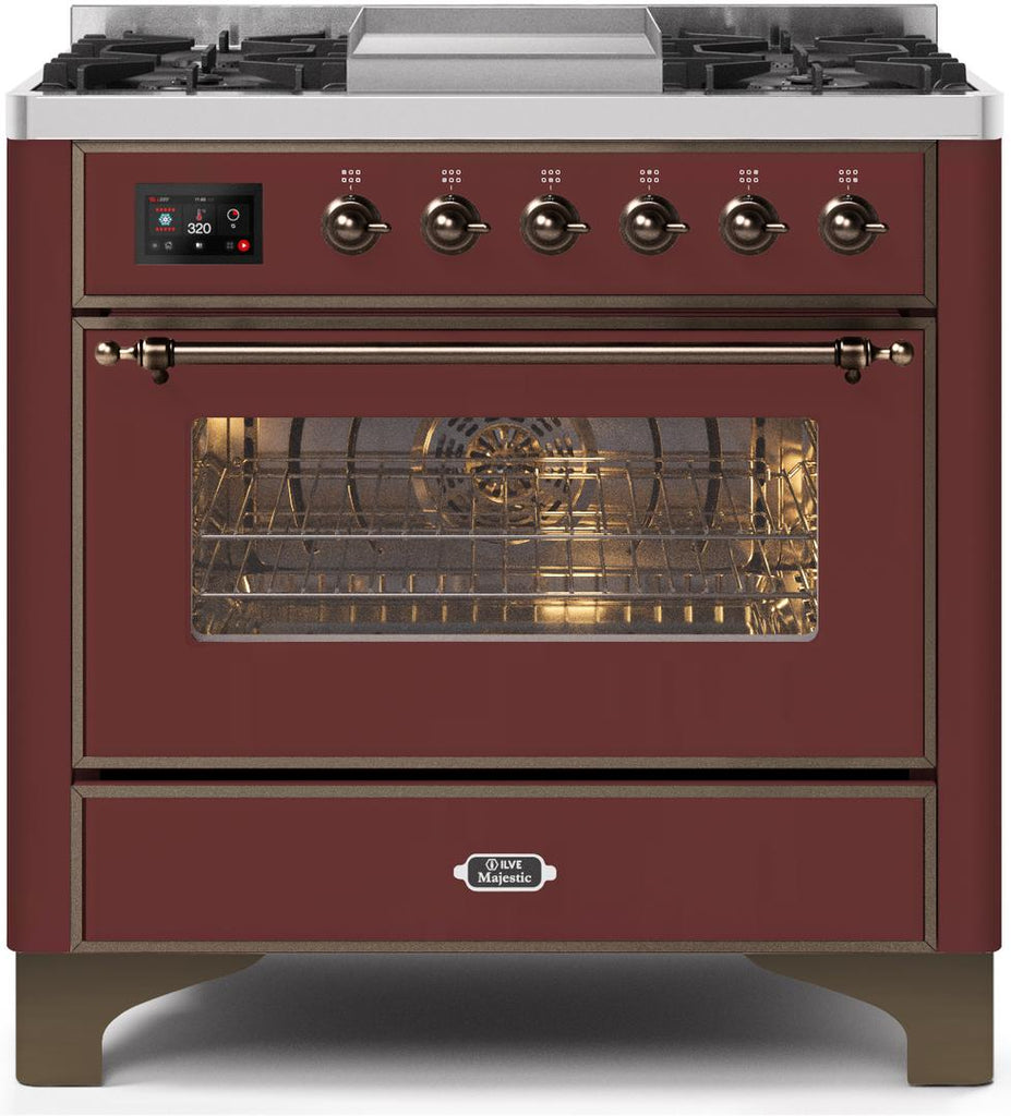 "Majestic II Series Dual Fuel Range with 4 Burners and Griddle   3.5 cu. ft. Oven Capacity   TFT Oven Control Display   Triple Glass Cool Door Oven   Bronze Trim   in Burgundy""UM09FDNS3BUBLP 36 - America Best Appliances, LLC"