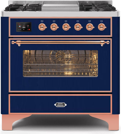 "Majestic II Series Dual Fuel Range with 4 Burners and Griddle   3.5 cu. ft. Oven Capacity   TFT Oven Control Display   Triple Glass Cool Door Oven   Copper Trim   in Midnight Blue""UM09FDNS3MBP 36 - America Best Appliances, LLC"