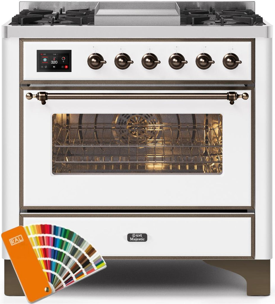 "Majestic II Series Dual Fuel Range with 4 Burners and Griddle   3.5 cu. ft. Oven Capacity   TFT Oven Control Display  Triple Glass Cool Door Oven   Bronze Trim   in Custom RAL Color"" UM09FDNS3RALB 36 - America Best Appliances, LLC"