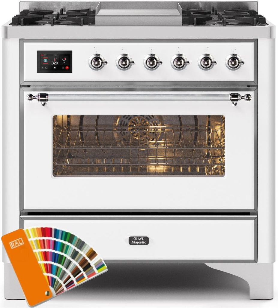 "Majestic II Series Dual Fuel Range with 4 Burners and Griddle   3.5 cu. ft. Oven Capacity   TFT Oven Control Display   Triple Glass Cool Door Oven   Chrome Trim   in Custom RAL Color"" UM09FDNS3RALC 36 - America Best Appliances, LLC"