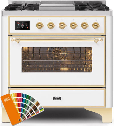 "Majestic II Series Dual Fuel Range with 4 Burners and Griddle   3.5 cu. ft. Oven Capacity   TFT Oven Control Display   Triple Glass Cool Door Oven   Brass Trim   in Custom RAL Color"" UM09FDNS3RALGLP 36 - America Best Appliances, LLC"