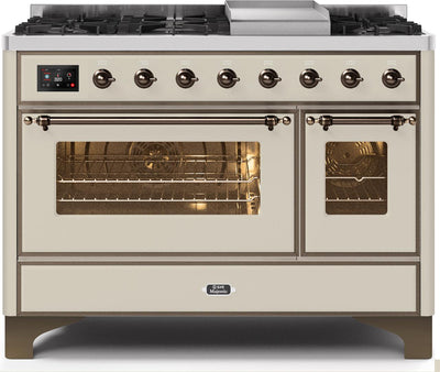 "Majestic II Series Freestanding Dual Fuel Range with 6 Sealed Brass Non Stick Coated Burners and Griddle   5.02 cu. ft. Total Oven Capacity   TFT Oven Control Display   Triple Glass Cool Door Oven   Bronze Trim  in Antique White"" UM12FDNS3AWB 48 - America Best Appliances, LLC"