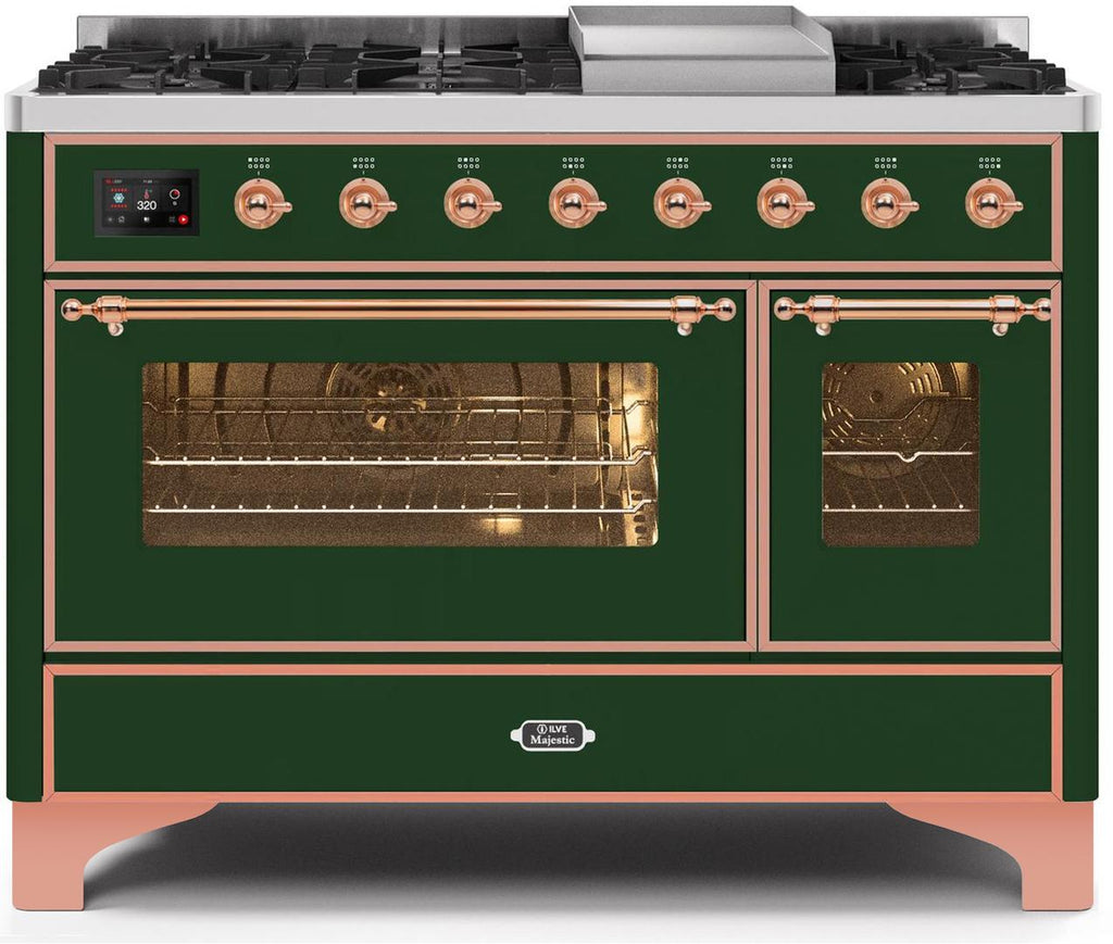 "Majestic II Series Freestanding Dual Fuel Range with 6 Sealed Brass Non Stick Coated Burners and Griddle   5.02 cu. ft. Total Oven Capacity   TFT Oven Control Display   Triple Glass Cool Door Oven   Copper Trim   in Emerald Green""UM12FDNS3EGPLP 48 - America Best Appliances, LLC"