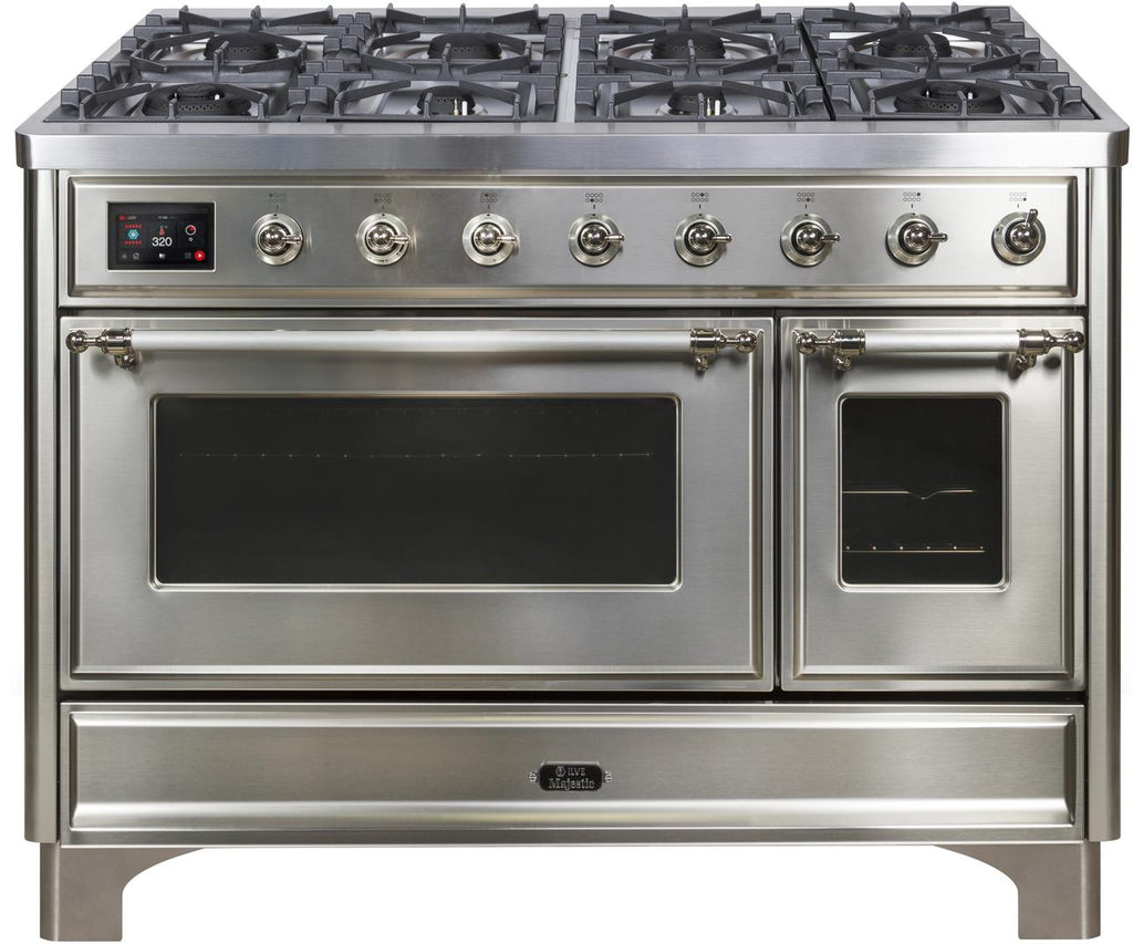 "Majestic II Series Freestanding Dual Fuel Range with 6 Sealed Brass Non Stick Coated Burners and Griddle   5.02 cu. ft. Total Oven Capacity   TFT Oven Control Display   Triple Glass Cool Door Oven   Chrome Trim   in Stainless Steel""UM12FDNS3SSC 48 - America Best Appliances, LLC"