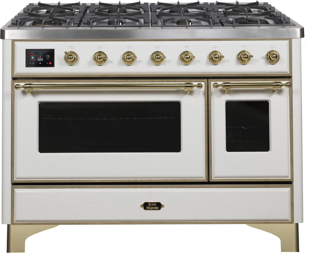 "Majestic II Series Freestanding Dual Fuel Range with 6 Sealed Brass Non Stick Coated Burners and Griddle   5.02 cu. ft. Total Oven Capacity   TFT Oven Control Display   Triple Glass Cool Door Oven   Brass Trim  in White""UM12FDNS3WHGLP 48 - America Best Appliances, LLC"
