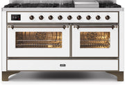 "Majestic II Series Freestanding Dual Fuel Liquid Propane Range with 7 Sealed Burners   Griddle   Dual Ovens   TFT Oven Touch Control Display   Bronze Trim   in White""UM15FE3WHBLP 60 - America Best Appliances, LLC"
