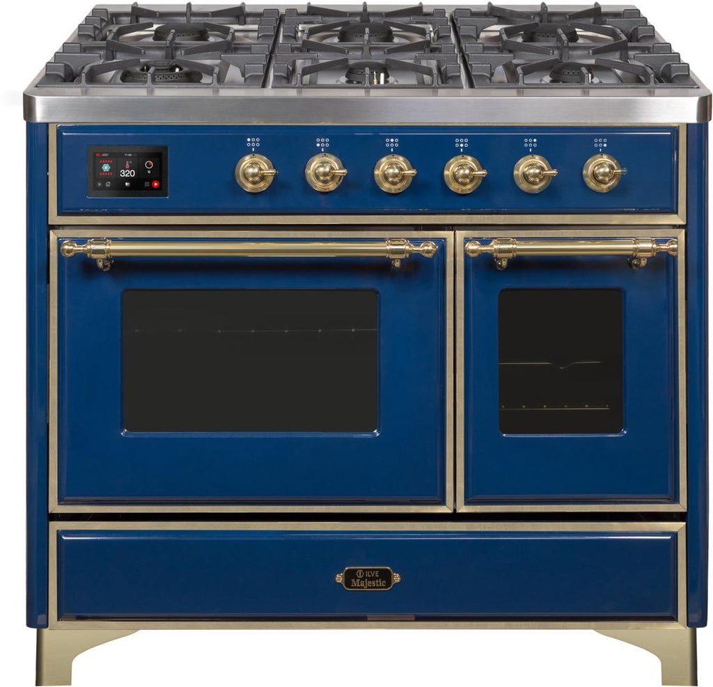 "Majestic II Series Dual Fuel Range with 4 Sealed Burners and Griddle   3.88 cu. ft. Total Oven Capacity   TFT Oven Control Display   Triple Glass Cool Door Oven   Brass Trim   in Midnight Blue""UMD10FDNS3MBGLP 40 - America Best Appliances, LLC"