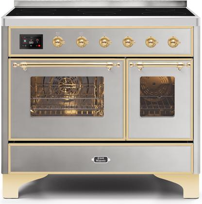 "Majestic II Series Induction Range with 6 Elements   Dual Ovens   TFT Control Display   Triple Glass Cool Oven Door  Bronze Trim   in Custom RAL Color""UMDI10NS3SSG 40 - America Best Appliances, LLC"