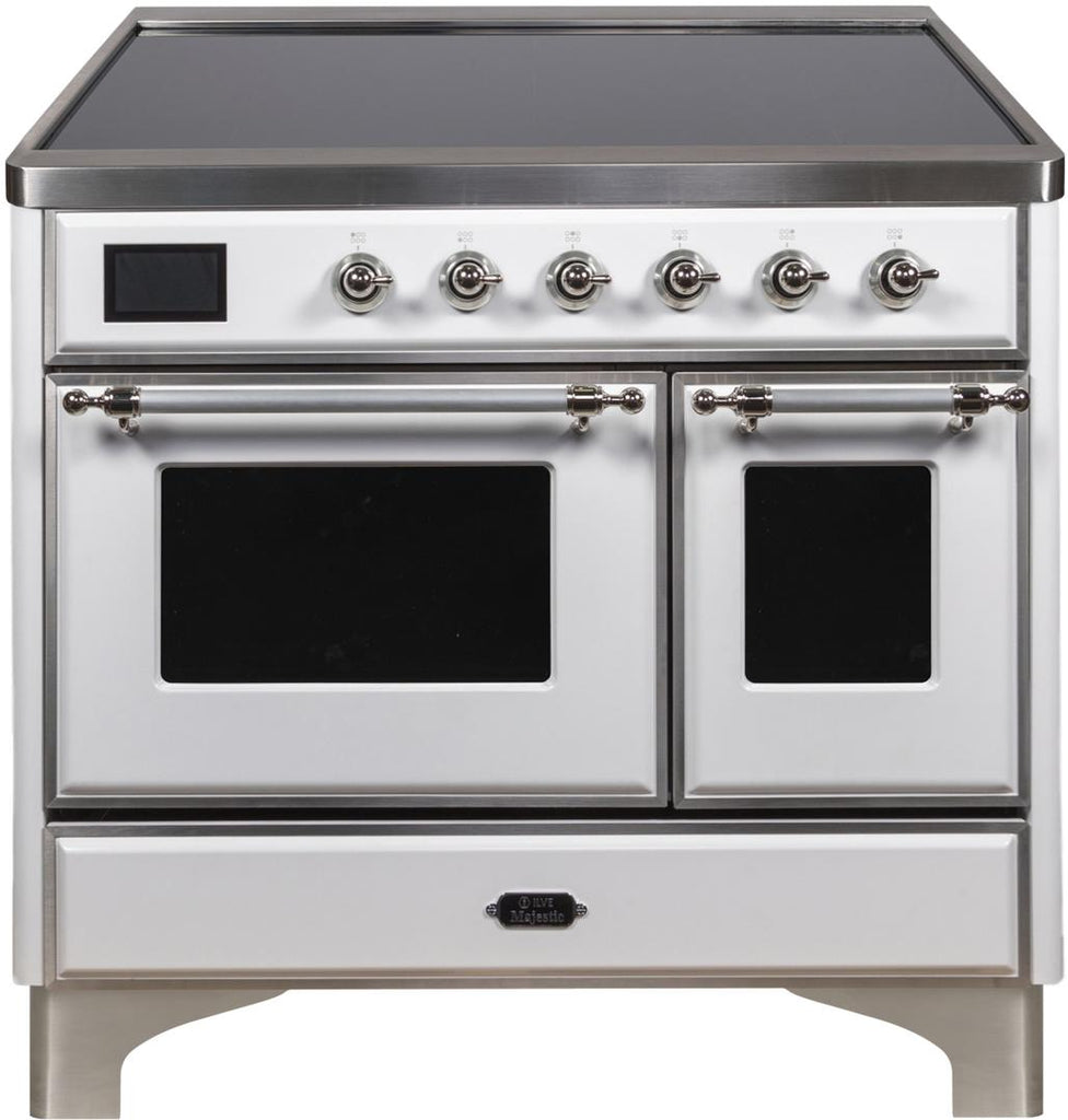 "Majestic II Series Induction Range with 6 Elements   Dual Ovens   TFT Control Display   Triple Glass Cool Oven Door   Bronze Trim   in Custom RAL Color""UMDI10NS3WHC 40 - America Best Appliances, LLC"