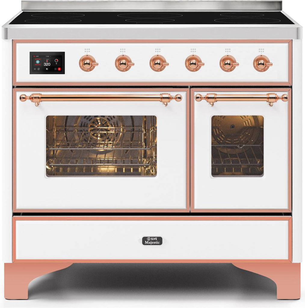 "Majestic II Series Induction Range with 6 Elements   Dual Ovens   TFT Control Display   Triple Glass Cool Oven Door  Bronze Trim  in Custom RAL Color""UMDI10NS3WHP 40 - America Best Appliances, LLC"