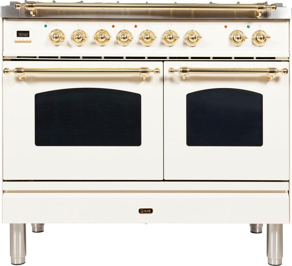 "Nostalgie Series Dual Fuel Natural Gas Range with 5 Sealed Brass Burners  3.55 cu. ft. Total Capacity True Convection Oven  Griddle  with Brass Trim  in Antique White  UPDN100FDMPA 40"" - America Best Appliances, LLC"