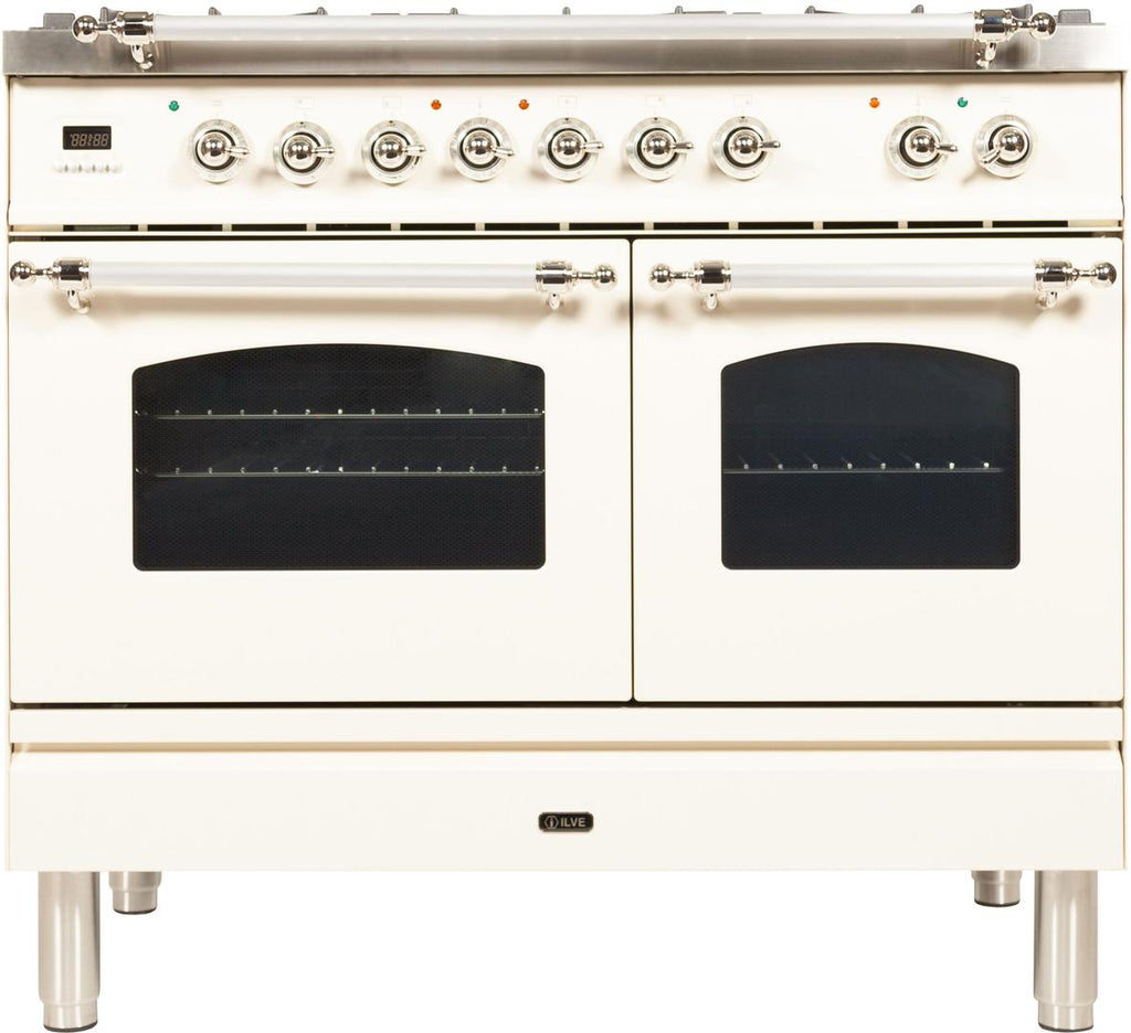 "Nostalgie Series Dual Fuel Liquid Propane Range with 5 Sealed Brass Burners  3.55 cu. ft. Total Capacity True Convection Oven  Griddle  with Chrome Trim  in Antique White  UPDN100FDMPAXLP 40"" - America Best Appliances, LLC"