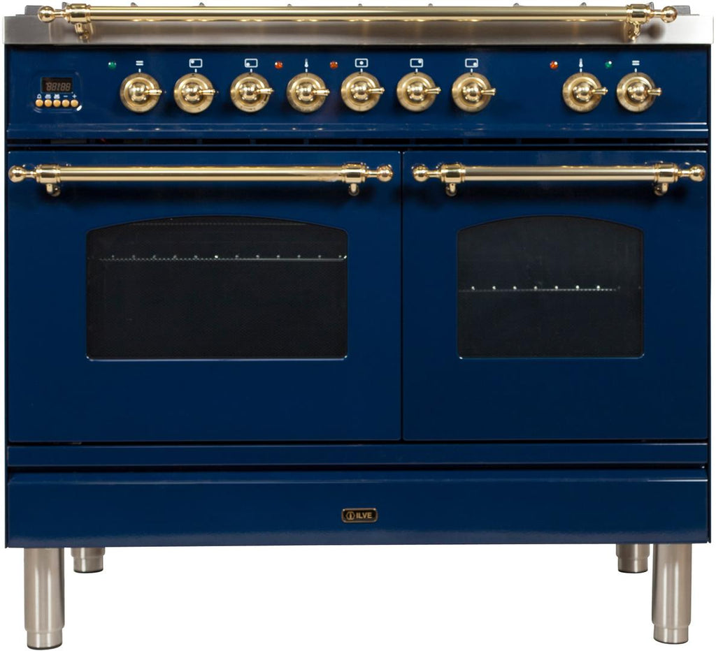 "Nostalgie Series Dual Fuel Natural Gas Range with 5 Sealed Brass Burners  3.55 cu. ft. Total Capacity True Convection Oven  Griddle  with Brass Trim  in Blue UPDN100FDMPBL 40"" - America Best Appliances, LLC"