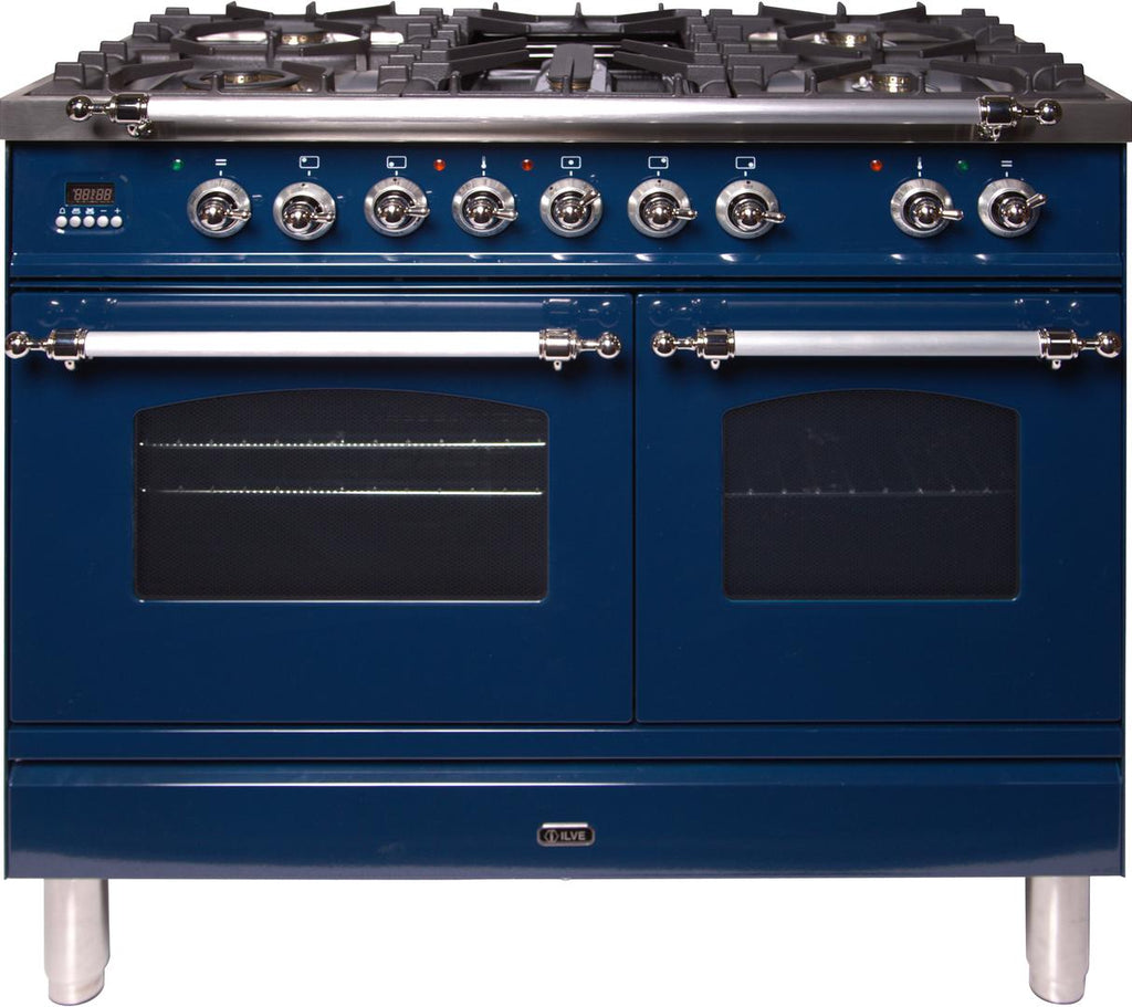 "Nostalgie Series Dual Fuel Natural Gas Range with 5 Sealed Brass Burners  3.55 cu. ft. Total Capacity True Convection Oven  Griddle  with Chrome Trim  in Blue  UPDN100FDMPBLX 40"" - America Best Appliances, LLC"