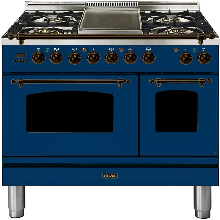 "Nostalgie Series Dual Fuel Natural Gas Range with 5 Sealed Brass Burners  3.55 cu. ft. Total Capacity True Convection Oven  Griddle  with Bronze Trim  in Blue UPDN100FDMPBLY 40"" - America Best Appliances, LLC"