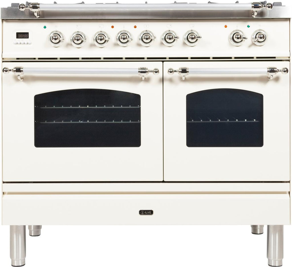 "Nostalgie Series Dual Fuel Natural Gas Range with 5 Sealed Brass Burners  3.55 cu. ft. Total Capacity True Convection Oven  Griddle  with Chrome Trim  in White  UPDN100FDMPBX 40"" - America Best Appliances, LLC"