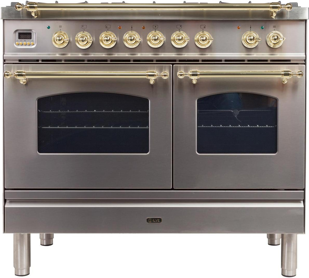 "Nostalgie Series Dual Fuel Liquid Propane Range with 5 Sealed Brass Burners  3.55 cu. ft. Total Capacity True Convection Oven  Griddle  with Brass Trim  in Stainless Steel  UPDN100FDMPILP 40"" - America Best Appliances, LLC"