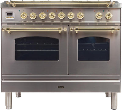 "Nostalgie Series Dual Fuel Natural Gas Range with 5 Sealed Brass Burners  3.55 cu. ft. Total Capacity True Convection Oven  Griddle  with Brass Trim  in Stainless Steel  UPDN100FDMPI 40"" - America Best Appliances, LLC"