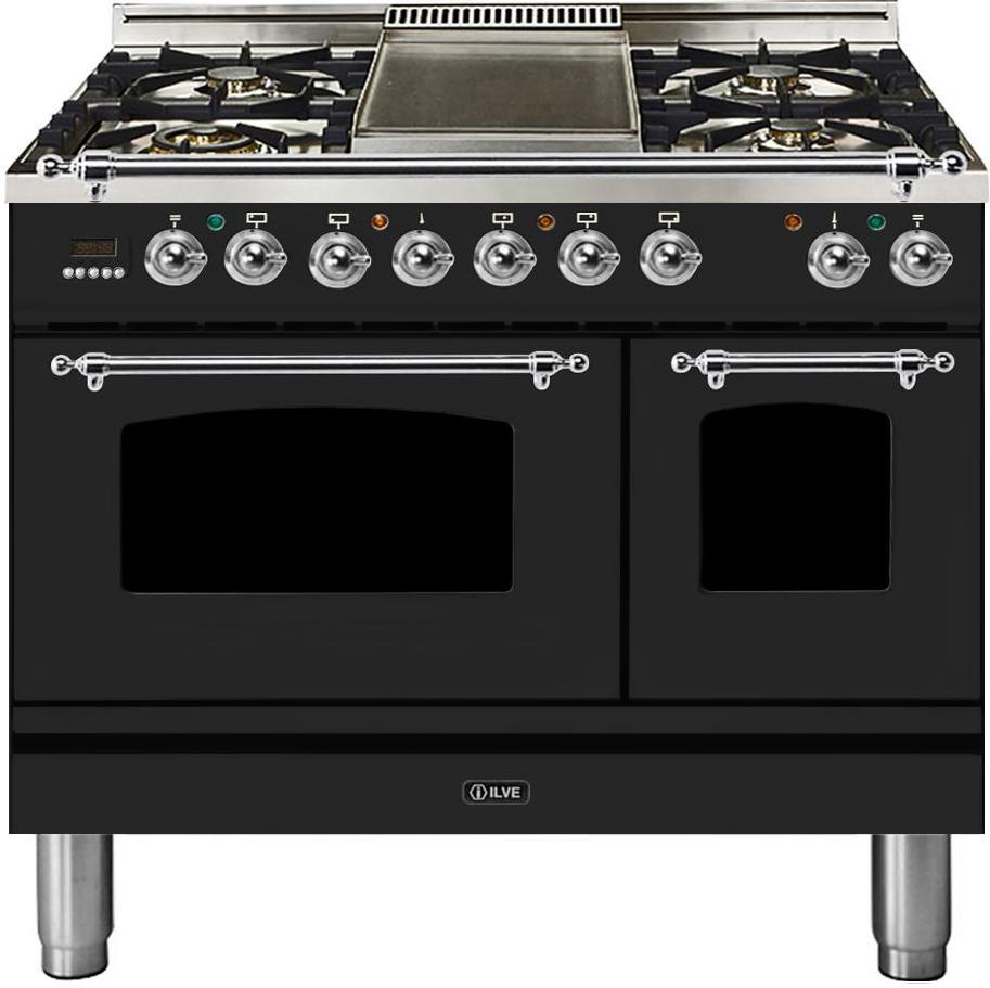 "Nostalgie Series Dual Fuel Liquid Propane Range with 5 Sealed Brass Burners  3.55 cu. ft. Total Capacity True Convection Oven  Griddle  with Chrome Trim  in Matte Graphite  UPDN100FDMPMXLP 40"" - America Best Appliances, LLC"