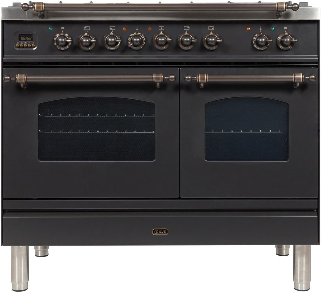 "Nostalgie Series Dual Fuel Liquid Propane Range with 5 Sealed Brass Burners  3.55 cu. ft. Total Capacity True Convection Oven  Griddle  with Bronze Trim  in Matte Graphite  UPDN100FDMPMYLP 40"" - America Best Appliances, LLC"
