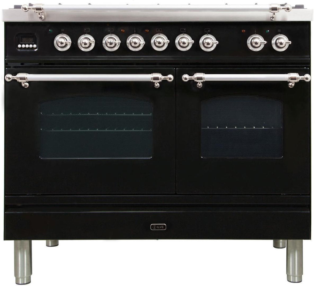 "Nostalgie Series Dual Fuel Liquid Propane Range with 5 Sealed Brass Burners  3.55 cu. ft. Total Capacity True Convection Oven  Griddle  with Chrome Trim  in Glossy Black UPDN100FDMPNXLP 40"" - America Best Appliances, LLC"