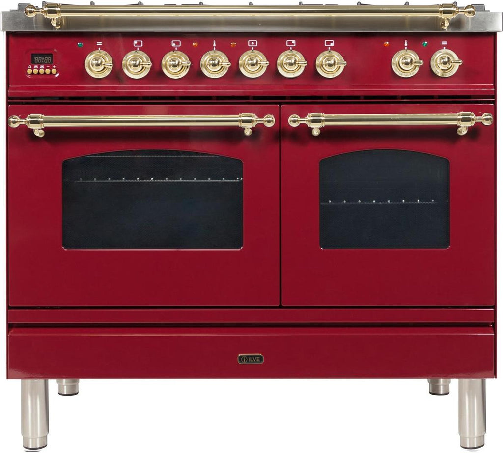 "Nostalgie Series Dual Fuel Natural Gas Range with 5 Sealed Brass Burners  3.55 cu. ft. Total Capacity True Convection Oven  Griddle  with Brass Trim  in Burgundy  UPDN100FDMPRB 40"" - America Best Appliances, LLC"