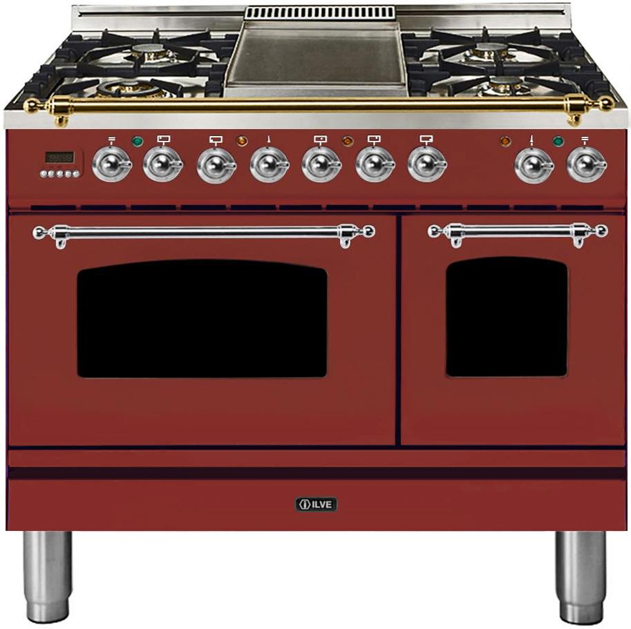 "Nostalgie Series Dual Fuel Liquid Propane Range with 5 Sealed Brass Burners  3.55 cu. ft. Total Capacity True Convection Oven  Griddle  with Chrome Trim  in Burgundy  UPDN100FDMPRBXLP 40"" - America Best Appliances, LLC"