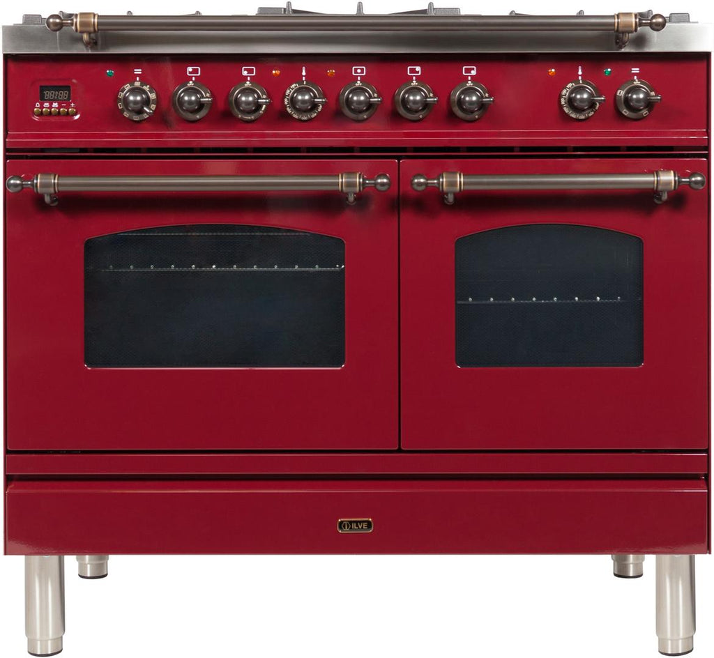 "Nostalgie Series Dual Fuel Liquid Propane Range with 5 Sealed Brass Burners  3.55 cu. ft. Total Capacity True Convection Oven  Griddle  with Bronze Trim  in Burgundy  UPDN100FDMPRBYLP 40"" - America Best Appliances, LLC"