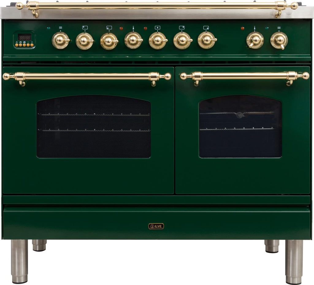 "Nostalgie Series Dual Fuel Liquid Propane Range with 5 Sealed Brass Burners  3.55 cu. ft. Total Capacity True Convection Oven  Griddle  with Brass Trim  in Emerald Green  UPDN100FDMPVSLP 40"" - America Best Appliances, LLC"