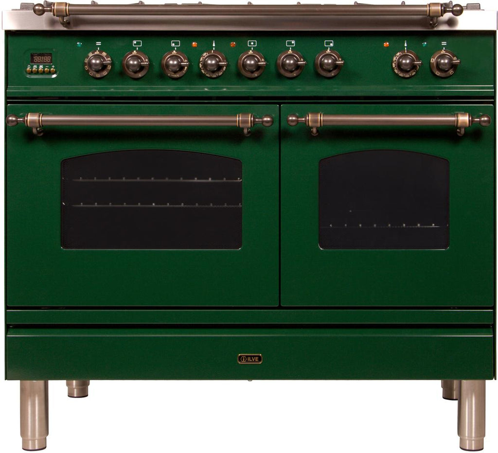 "Nostalgie Series Dual Fuel Natural Gas Range with 5 Sealed Brass Burners  3.55 cu. ft. Total Capacity True Convection Oven  Griddle  with Bronze Trim  in Emerald Green  UPDN100FDMPVSY 40"" - America Best Appliances, LLC"