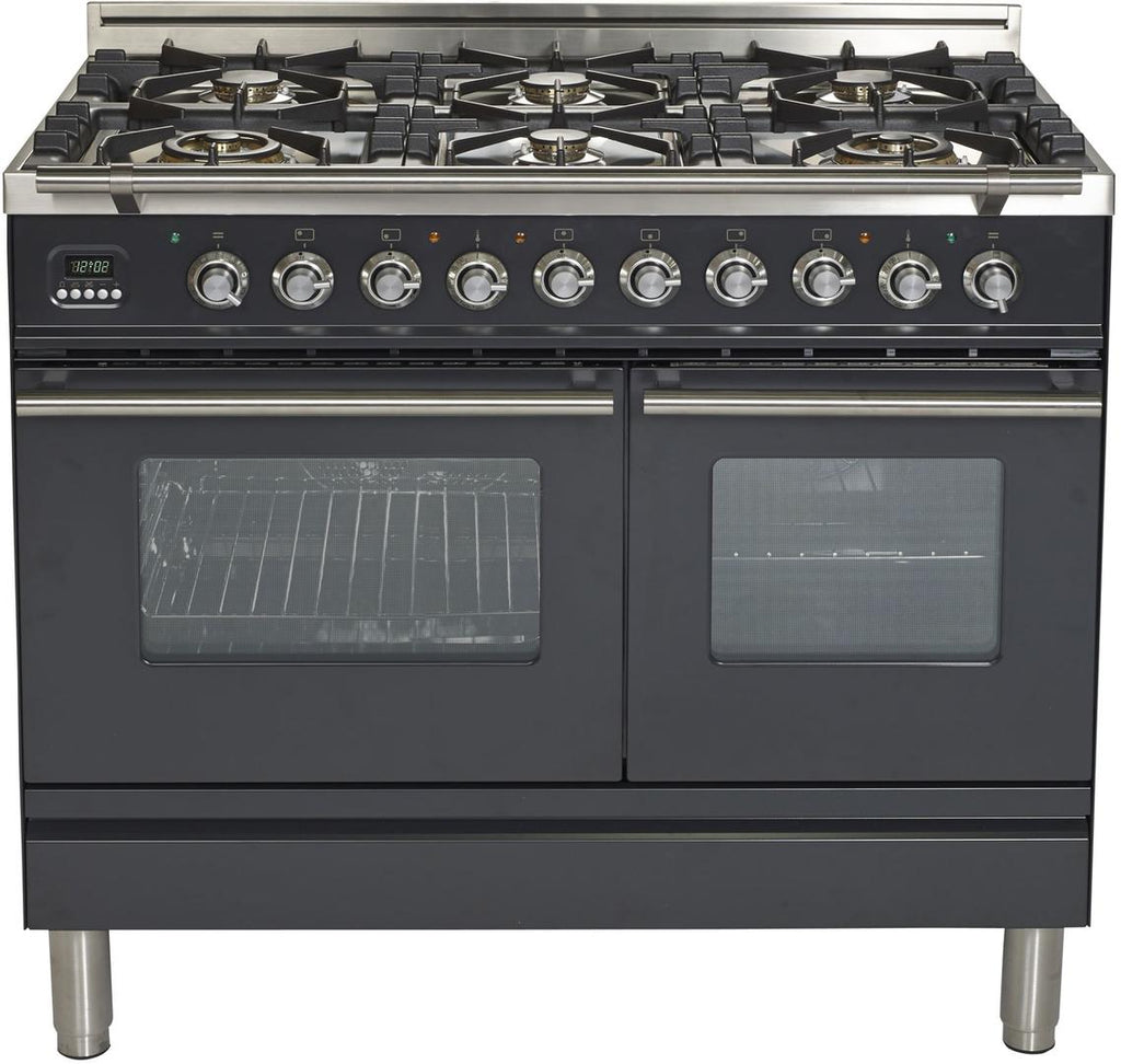 "Pro Series Freestanding Dual Fuel Range with 2 Ovens  6 Sealed Burners  Warming Drawer  and 3.5 cu. ft. Total Oven Capacity  in Matte Graphite  UPDW1006DMPM 40"" - America Best Appliances, LLC"