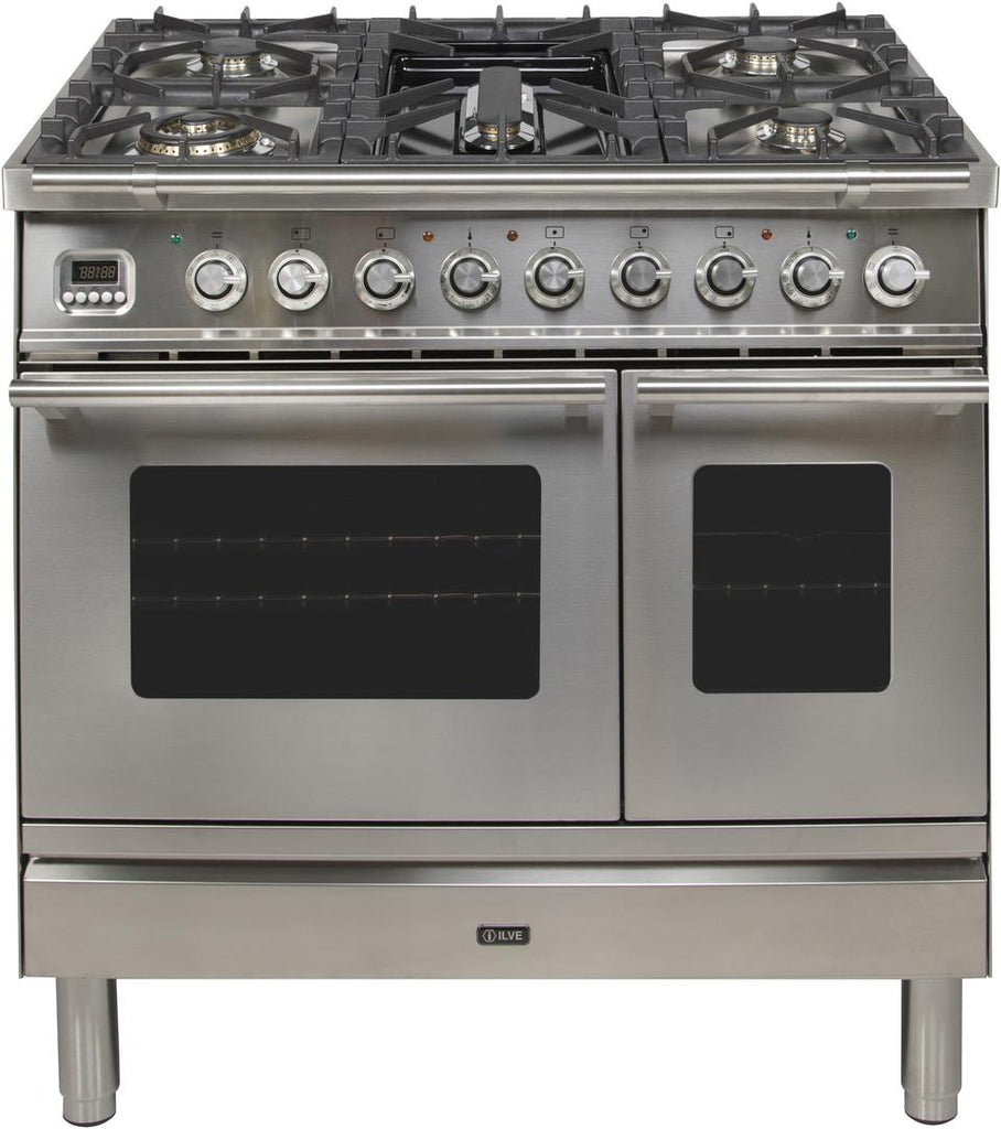 "Professional Plus Dual Fuel Liquid Propane Range with 5 Sealed Burners  Double Oven  Griddle  Rotisserie  and Warming Drawer  in Stainless Steel  UPDW90FDMPILP 36"" - America Best Appliances, LLC"