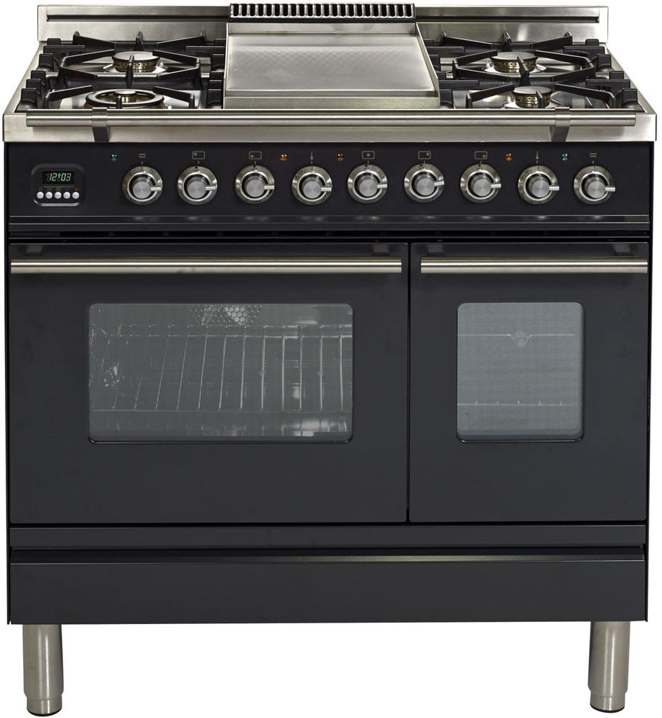 "Professional Plus Dual Fuel Liquid Propane Range with Double Oven  5 Sealed Burners  Griddle  Rotisserie  and Warming Drawer  in Matte Graphite UPDW90FDMPMLP 36"" - America Best Appliances, LLC"
