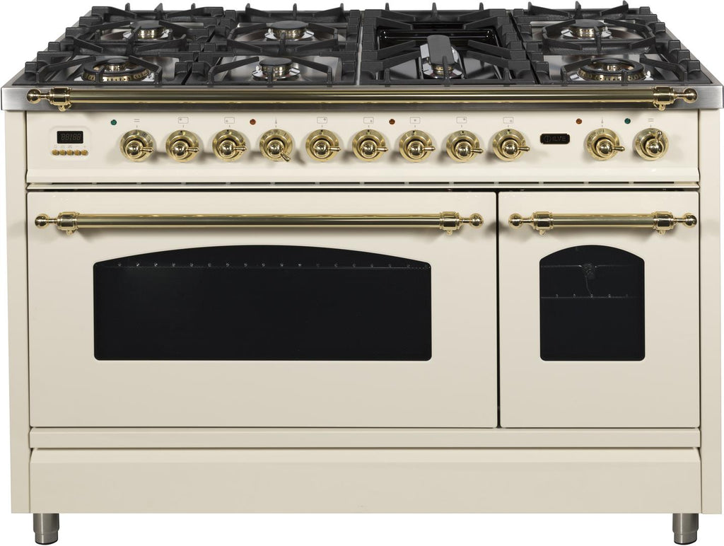 "Nostalgie Series Dual Fuel Liquid Propane Range with 7 Sealed Burners  5 cu. ft. Total Capacity True Convection Oven  Griddle  with Brass Trim  in Antique White UPN120FDMPALP 48"" - America Best Appliances, LLC"