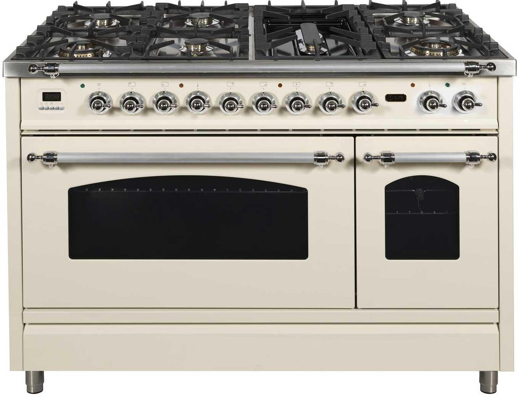 "Nostalgie Series Dual Fuel Liquid Propane Range with 7 Sealed Burners  5 cu. ft. Total Capacity True Convection Oven  Griddle  with Chrome Trim  in Antique White UPN120FDMPAXLP 48"" - America Best Appliances, LLC"