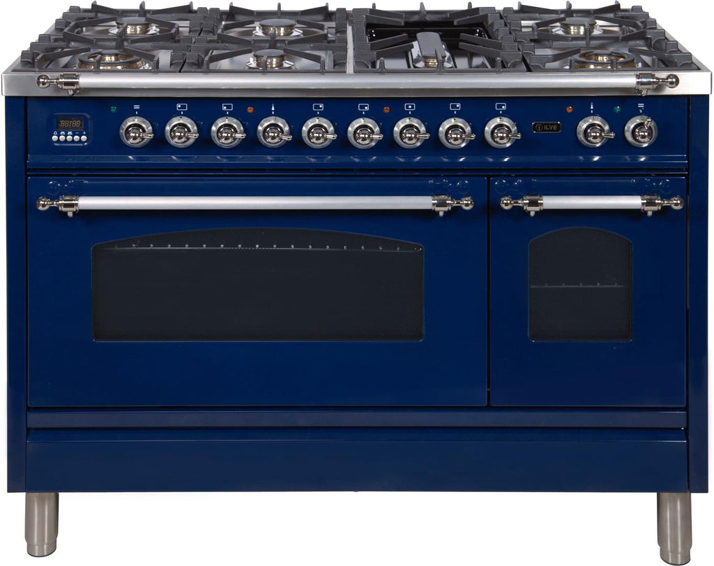 "Nostalgie Series Dual Fuel Natural Gas Range with 7 Sealed Burners  5 cu. ft. Total Capacity True Convection Oven  Griddle  with Chrome Trim  in Blue UPN120FDMPBLX 48"" - America Best Appliances, LLC"
