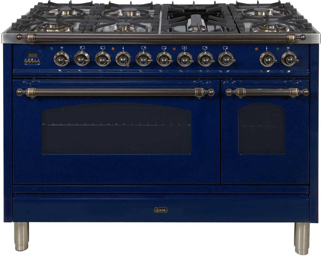 "Nostalgie Series Dual Fuel Liquid Propane Range with 7 Sealed Burners  5 cu. ft. Total Capacity True Convection Oven  Griddle  with Bronze Trim  in Blue  UPN120FDMPBLYLP 48"" - America Best Appliances, LLC"