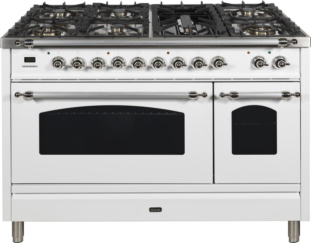 "Nostalgie Series Dual Fuel Natural Gas Range with 7 Sealed Burners  5 cu. ft. Total Capacity True Convection Oven  Griddle  with Chrome Trim  in White  UPN120FDMPBX 48"" - America Best Appliances, LLC"