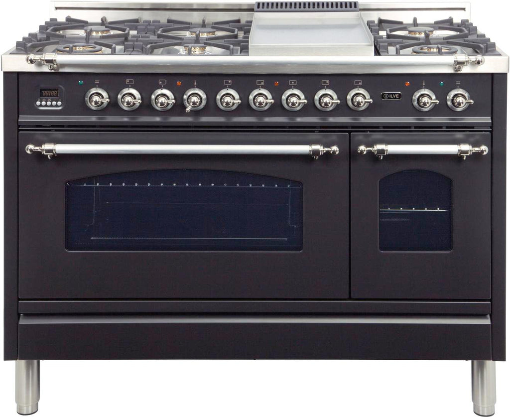 "Nostalgie Series Dual Fuel Liquid Propane Range with 7 Sealed Burners  5 cu. ft. Total Capacity True Convection Oven  Griddle  with Chrome Trim  in Matte Graphite  UPN120FDMPMXLP 48"" - America Best Appliances, LLC"