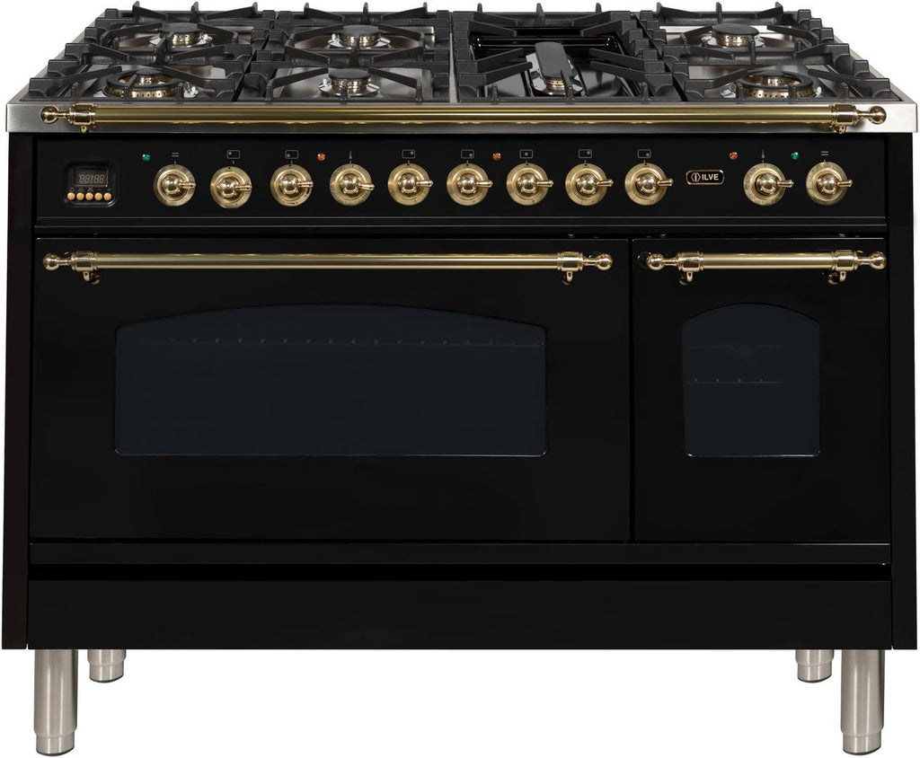"Nostalgie Series Dual Fuel Liquid Propane Range with 7 Sealed Burners  5 cu. ft. Total Capacity True Convection Oven  Griddle  with Brass Trim  in Glossy Black  UPN120FDMPNLP 48"" - America Best Appliances, LLC"