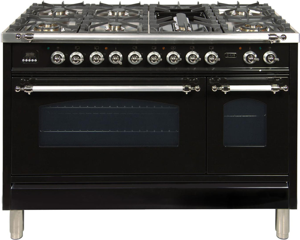 "Nostalgie Series Dual Fuel Liquid Propane Range with 7 Sealed Burners  5 cu. ft. Total Capacity True Convection Oven  Griddle  with Chrome Trim  in Glossy Black  UPN120FDMPNXLP 48"" - America Best Appliances, LLC"