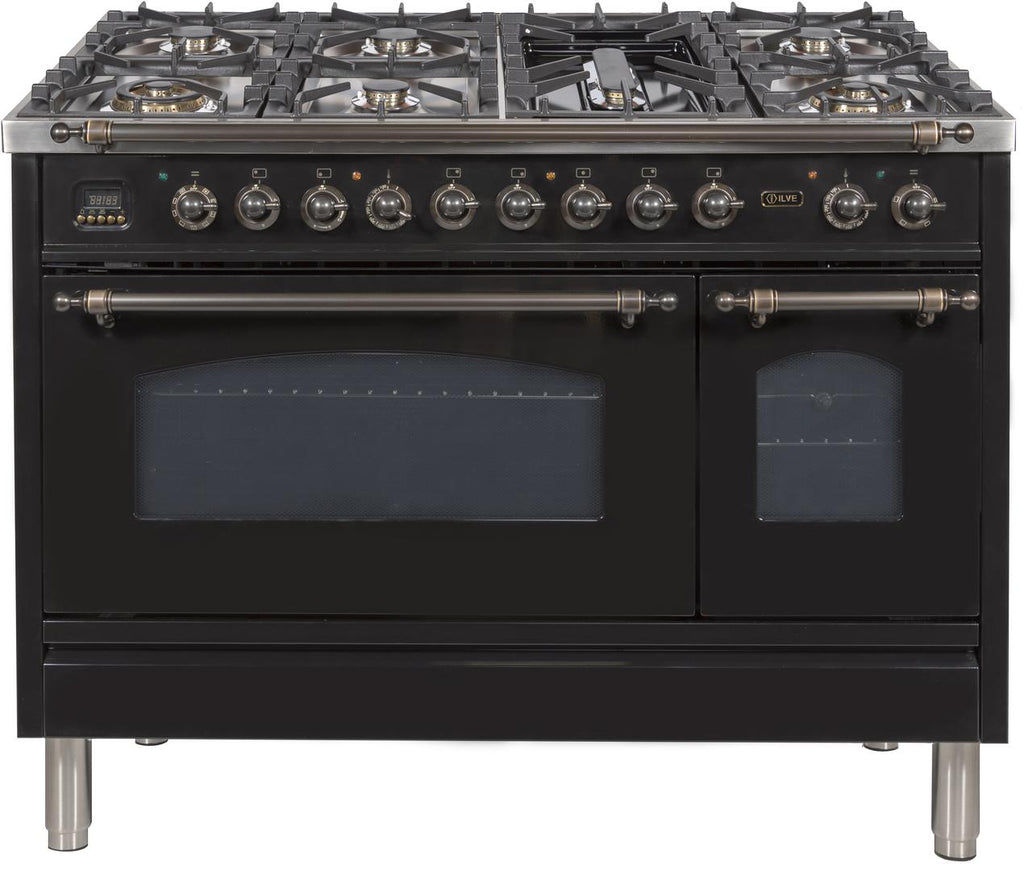 "Nostalgie Series 48"" Dual Fuel Range w/7 Burners (Bronze/Glossy Black) - America Best Appliances, LLC"