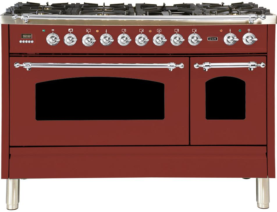 "Nostalgie Series Dual Fuel Liquid Propane Range with 7 Sealed Burners  5 cu. ft. Total Capacity True Convection Oven  Griddle  with Chrome Trim  in Burgundy  UPN120FDMPRBXLP 48"" - America Best Appliances, LLC"