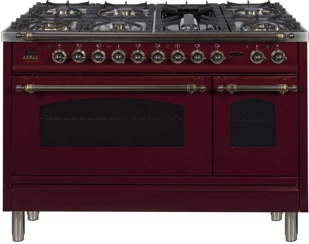 "Nostalgie Series Dual Fuel Natural Gas Range with 7 Sealed Burners  5 cu. ft. Total Capacity True Convection Oven  Griddle  with Bronze Trim  in Burgundy  UPN120FDMPRBY 48"" - America Best Appliances, LLC"