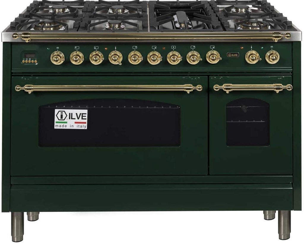 "Nostalgie Series Dual Fuel Liquid Propane Range with 7 Sealed Burners  5 cu. ft. Total Capacity True Convection Oven  Griddle  with Brass Trim  in Emerald Green  UPN120FDMPVSLP 48"" - America Best Appliances, LLC"