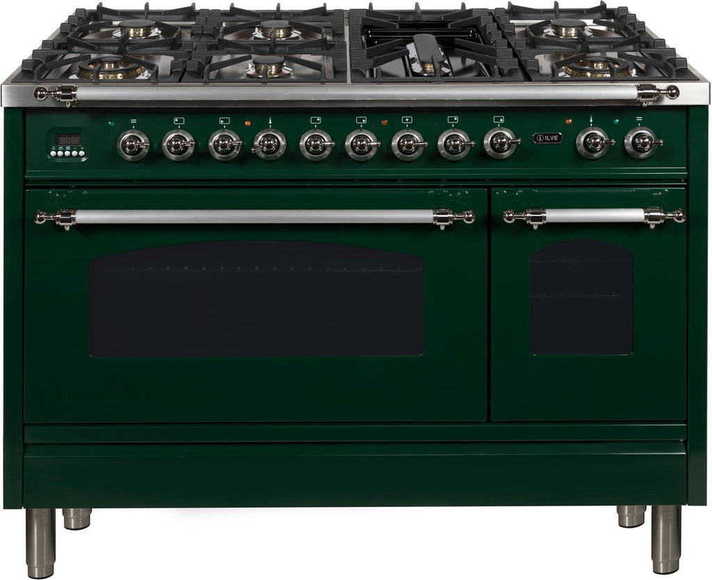"Nostalgie Series Dual Fuel Liquid Propane Range with 7 Sealed Burners  5 cu. ft. Total Capacity True Convection Oven  Griddle  with Chrome Trim  in Emerald Green  UPN120FDMPVSXLP 48"" - America Best Appliances, LLC"