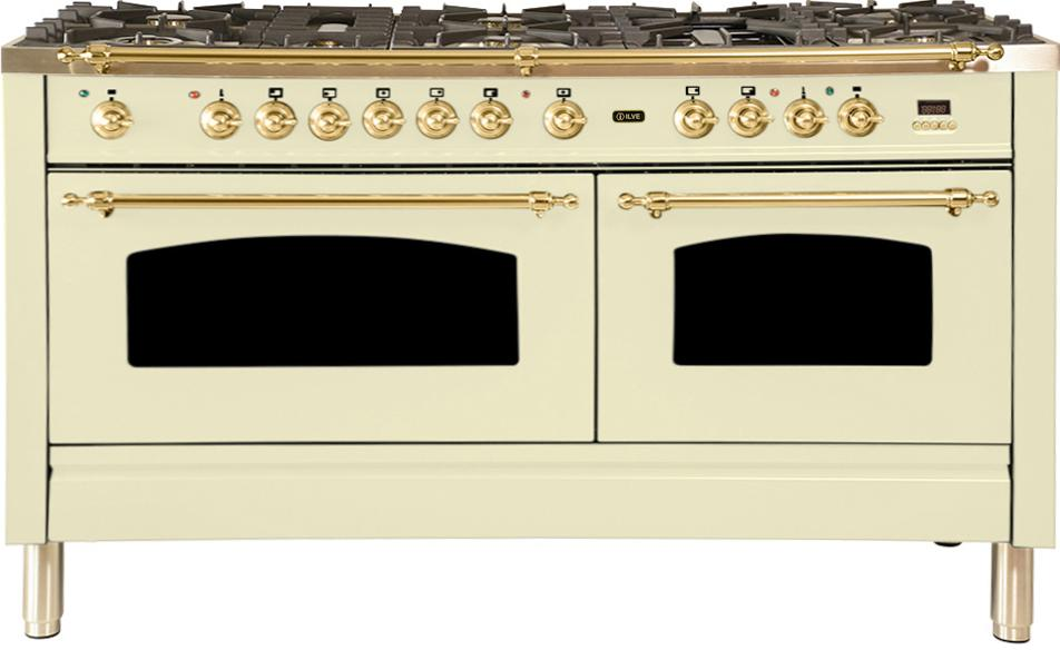 "Nostalgie Series Dual Fuel Liquid Propane Range with 8 Sealed Burners  5.99 cu. ft. Total Capacity True Convection Oven  Griddle  with Brass Trim  in Antique White  UPN150FDMPALP 60"" - America Best Appliances, LLC"